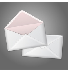 Blank white realistic envelopes opened and close vector