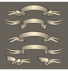 Retro engraving ribbons set vector