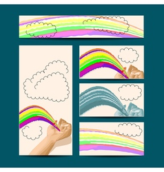 Template with hand and rainbow vector