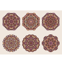Set of mandalas beautiful hand drawn flowers vector