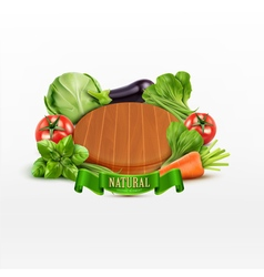 Element for design cutting board with vegetables vector