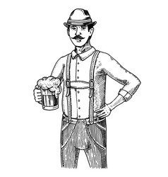 a man in traditional belgian or bavarian clothes vector image