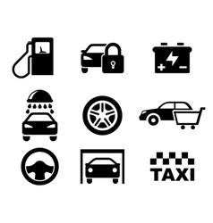Black and white car service icons vector image vector image