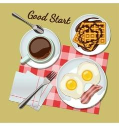 Breakfast set top view vector