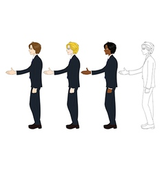Business Man Curly Hair Hand Shake vector image vector image