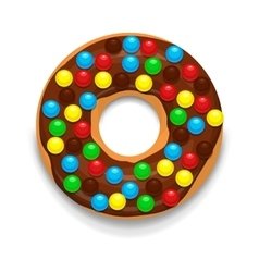 Chocolate donut with candies icon cartoon style vector image vector image