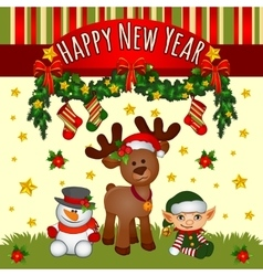 Christmas card with santas helpers cute team vector