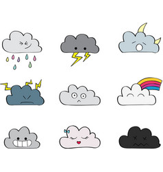 cute colorful clouds with face vector image vector image