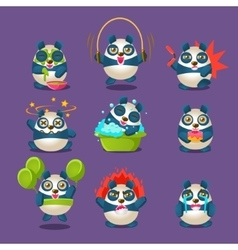 Cute Panda Emotions And Activities Collection With vector image