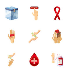 Donor donation icons set cartoon style vector