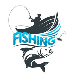 Fisherman in a boat on a fishing trip vector