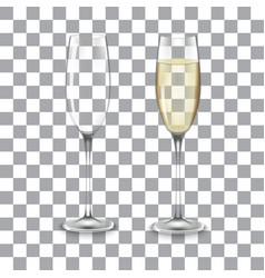 full and empty glass of champagne vector image