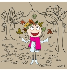 Girl in park throws autumn leaves Autumn vector image vector image