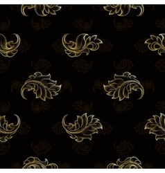 Gold vintage seamless floral pattern vector image vector image