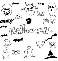 Halloeen evil ghost in doodle vector