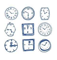 Hand drawn clocks vector