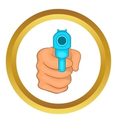 Hand pointing with the gun icon vector