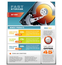 HD Hard Disk Sale Promotional Brochure vector image