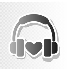 headphones with heart new year blackish vector image vector image