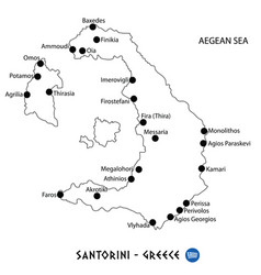 Island of santorini in greece map on white vector