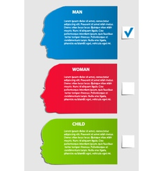 Man woman child paper options vector image vector image