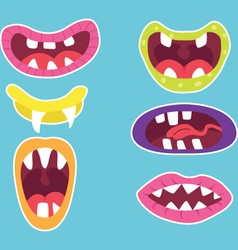 Monster mouths set vector