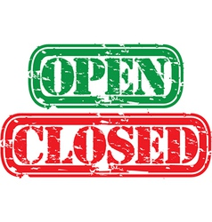open closed stamp vector image