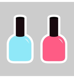 Pink blue nail polish varnish sticker icon set vector