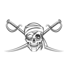 Pirate Skull and Two Crossing Swords vector image vector image