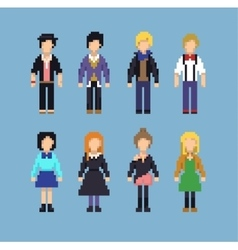 Pixel set of hipster people vector