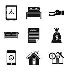 Property icons set simple style vector