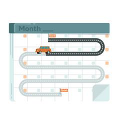 rent car service conceptual icon with calendar vector image