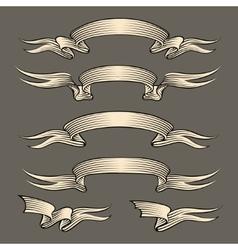 Retro engraving ribbons set vector
