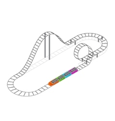 Roller coaster attraction isometric view vector