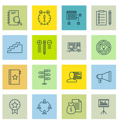 Set of 16 project management icons includes time vector
