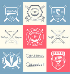 set of vintage baseball logos and badges vector image vector image