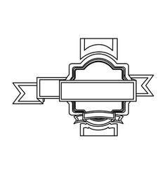 silhouette heraldic border with ribbon decorative vector image vector image