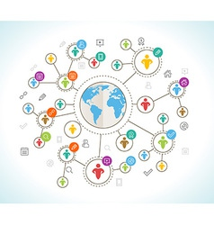 Social Network Flat design concept with world map vector image vector image