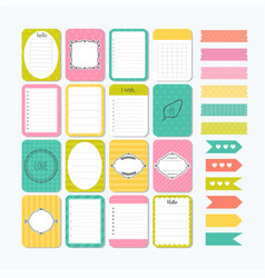 Template for notebooks cute design elements flat vector