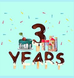 three years annyversary greeting card vector image vector image
