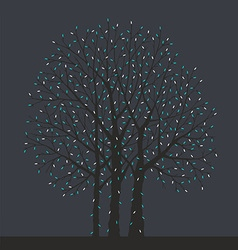 Tree with christmas light bulbs vector