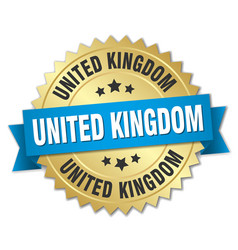 United kingdom round golden badge with blue ribbon vector