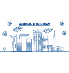 Usa alabama birmingham winter city skyline vector