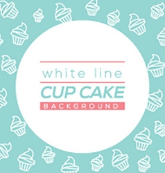 White Line Cup Cake Background vector image vector image