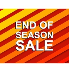 Red striped sale poster with end of season sale vector