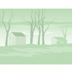 Shaker village evening in winter vector