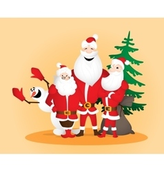 Three Santa Clauses with snowman and sack and vector image