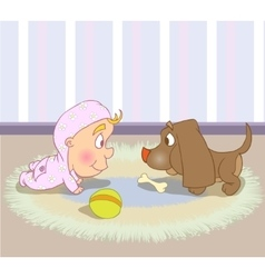 Cute baby character crawls with dog vector