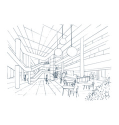 Modern interior shopping center mall contour vector