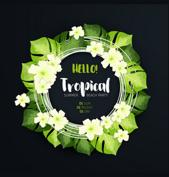tropical beach party circle banner on the dark vector image